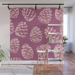 Blushing Deep Pine Cones Wall Mural
