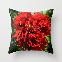 Crimson Peony Poppy Throw Pillow