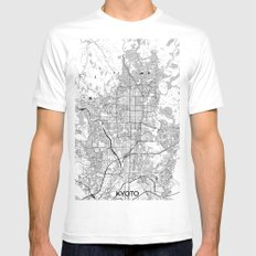 Kyoto Map Gray MEDIUM White Mens Fitted Tee