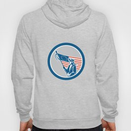 American Serviceman Soldier Flag Circle Retro Hoody