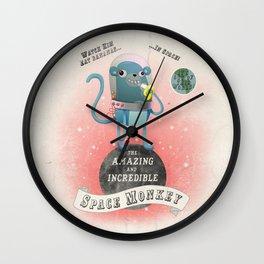 space monkey cream Wall Clock
