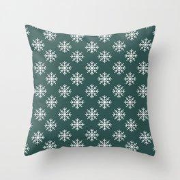 Snowflakes (White & Dark Green Pattern) Throw Pillow