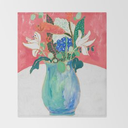 Bouquet of Flowers in Alexandrite Inspired Vase against Salmon Wall Throw Blanket