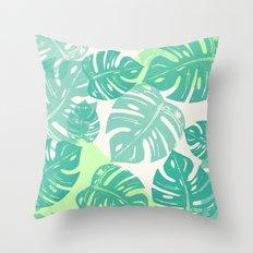 Linocut Monstera Green Throw Pillow