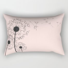 Contemporary Pink Dandelion Drawing Rectangular Pillow