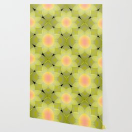 Green and yellow floral pattern. Wallpaper