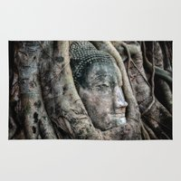 buddah Area & Throw Rugs featuring Banyan Tree Buddha by Adrian Evans
