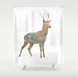 Young Stag double exposure Shower Curtain