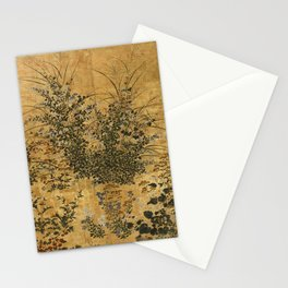 Vintage Japanese Floral Gold Leaf Screen With Morning Glory Stationery Cards