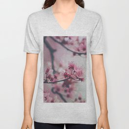 Pink Cherry Blossom On Branch Unisex V-Neck