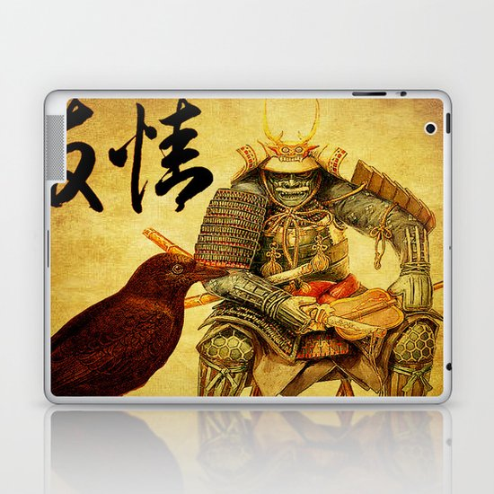 The old samurai and his faithful friendly the crow Laptop & iPad Skin