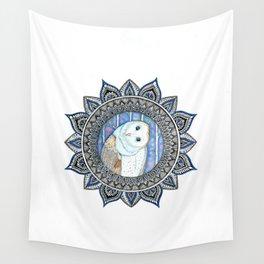 Winter Barn Owl Mandala Wall Tapestry