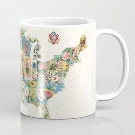 Vintage US State Flower Map (1911) Coffee Mug