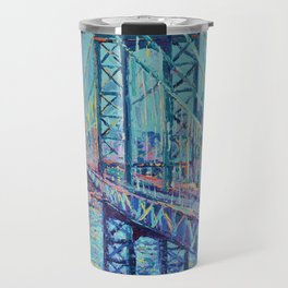 Manhattan Bridge - Palette Knife Urban City Landscape bu Adriana Dziuba Travel Mug