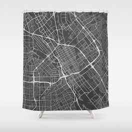 San Jose Map, USA - Gray Shower Curtain