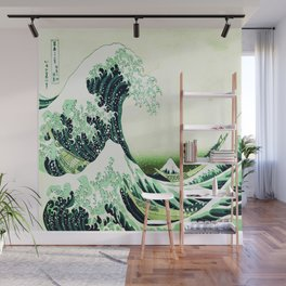 The Great Wave Green Wall Mural