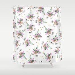 Modern cute whimsical floral unicorn pattern illustration gold glitter polka dots Shower Curtain