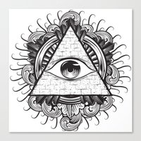 all seeing eye Canvas Prints featuring All Seeing Eye by E1 illustration