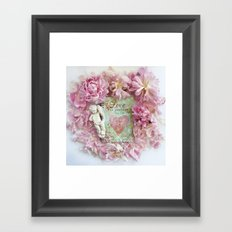 Pink Shabby Chic Peony Love Heart Floral Prints - Shabby Chic Peony Home Decor Framed Art Print