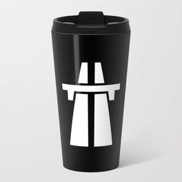 Freeway, Motorway, Autobahn - White on Black Travel Mug