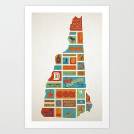 New Hampshire quilt-style screenprint Art Print