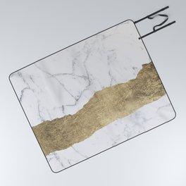 Elegant faux gold foil gray white modern marble Picnic Blanket