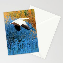 Snow Goose Flying in Autumn Stationery Cards