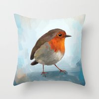 robin Throw Pillows featuring Robin by Freeminds