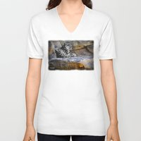 snow leopard V-neck T-shirts featuring Snow Leopard by Jennifer Rose Cotts Photography