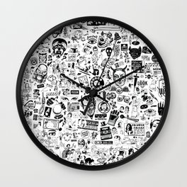 SATANIC PANIC! Vintage Clip Art Zine Style Collage Wall Clock