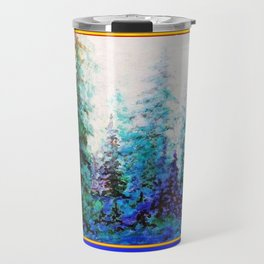 WESTERN  BLUE FOREST WATER COLOR TEAL PATTERN ART Travel Mug