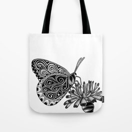 Tangled Butterfly on White Tote Bag