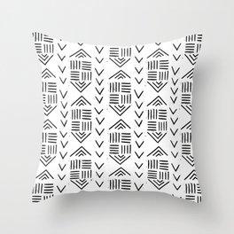 mudcloth 7 minimal textured black and white pattern home decor minimalist Throw Pillow