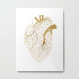 Heart Branches - Gold Metal Print