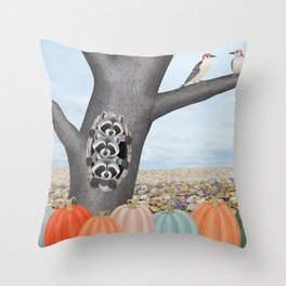 red bellied woodpeckers, heirloom pumpkins, and raccoons in a tree Throw Pillow