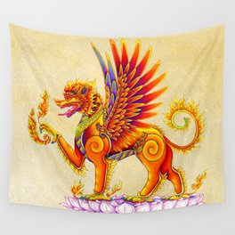 Singha Winged Lion Temple Guardian Wall Tapestry