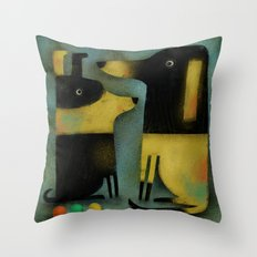 YELLOW AND BLACK HOUNDS Throw Pillow