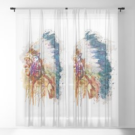 Native American Chief Sheer Curtain
