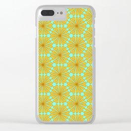 Copper Cinnamon Petals on Teal Geometric Diamond Floral Spirit Organic Clear iPhone Case