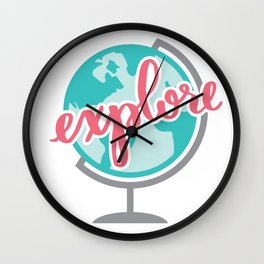 Explore Calligraphy Globe   Travel Adventure Hand Lettering Teal Pink Wall Clock