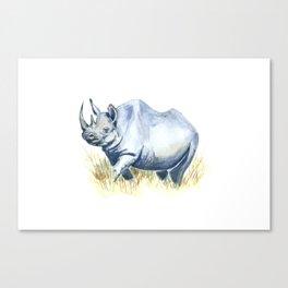 Black Rhino Watercolor Painting Canvas Print