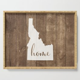 Idaho is Home - White on Wood Serving Tray