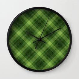 Green Plaid Pattern Wall Clock