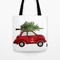 craftberrybush Tote Bags featuring Red Christmas Beetle  by craftberrybush