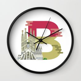 B for Barcelona Wall Clock