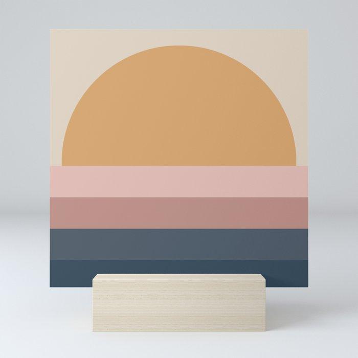 Minimal Retro Sunset - Neutral Mini Art Print