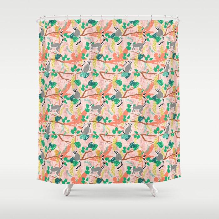 Lemurs in Pink Jungle Shower Curtain