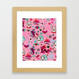 Lucky Cat Maneki Neko , Dragons and Koi fish On Pink Framed Art Print