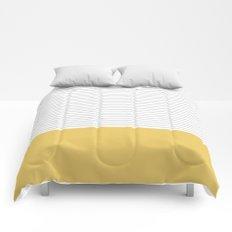 Minimal Gray Stripes - yellow Comforters