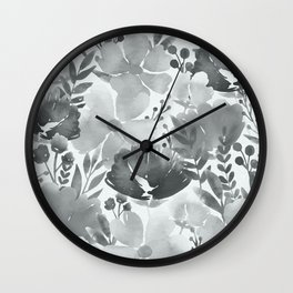 Watercolour background with variety of flowers V Wall Clock